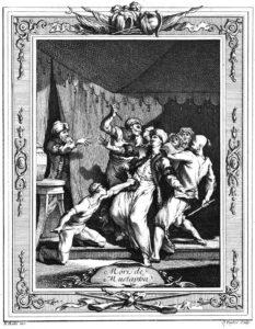 صحنه مرگ فجیع شاهزاده مصطفی در چادر پدرش به دست غلامان سلطان سلیمان