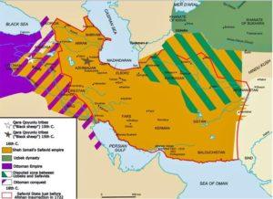 ایران در دوره صفوی مناطق هاشور خورده به رنگ بنفش برای قرن ها محل جنگ با عثمانی بود
