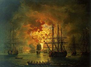 آتش گرفتن ناوگان عثمانی در چیو در سال 1770