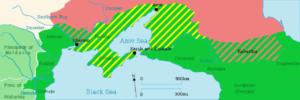 عهدنامه کوچک قینارجی مناطق سبزقرمز به طور مستقیم و مناطق سبز،زرد به طور غیر مستقیم به روسیه واگذارشد