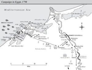مسیر لشکرکشی ناپلئون به مصر و پیاده شدن در بندر اسکندریه