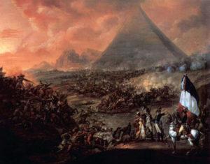 نبرداهرام. در این جنگ ممالیک با شمشیر و نیزه به جنگ ارتش مجهز فرانسه رفتند