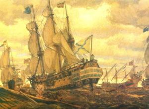 کشتی های روسی در دریای کاسپین. با سقوط صفویه ارتش روسیه برای اولین بار مناطقی از ایران را اشغال کرد