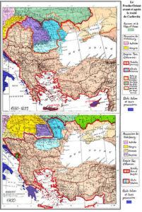 تغییرات ارضی امپراتوری عثمانی قبل(نقشه بالا) و بعد (نقشه پایین) معاهده کارلوویتس