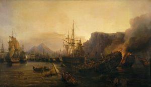 آتش گرفتن ناوگان عثمانی در ناوارینو. این نبرد یک فاجعه دریایی تمام عیار برای مصر و عثمانی بود