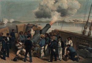 بمباران بندر بومانسرود توسط متفقین در دریای بالتیک. جنگ کریمه به سرعت به نقاط مختلف دنیا کشیده شد