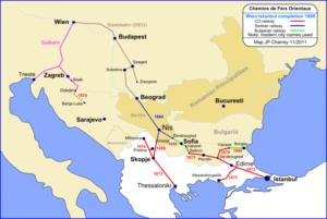 مسیرخطوط راه آهن عثمانی به سمت اروپا تا سال 1888