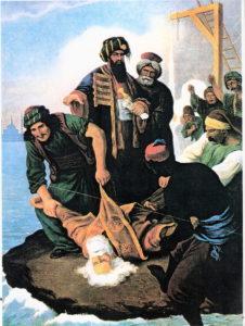 صحنه اعدام وحشیانه پاتریارک گریگوری. این اتفاق باعث نفرت شدید افکار عمومی اروپا از دولت عثمانی شد