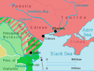 مناطقی که طبق عهدنامه بخارست نصیب روسها شد. در واقع با هوشیاری ژنرال کوتوزوف جنگ بیهوده با عثمانی به پایان رسید و ارتش روسیه راهی جنگ با ناپلئون شد