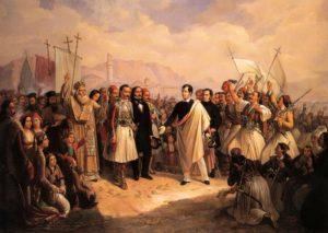 ورود لرد بایرون به یونان. او شیفته این کشور بود و می خواست برای استقلال آن بجنگد که در اثر بیماری در این کشور درگذشت