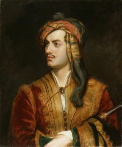 لردبایرون شاعر معروف انگلیسی او شیفته یونان و تمدن گذشته اش بود
