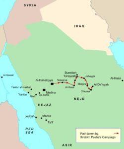 مسیر حرکت ارتش مصر در عربستان