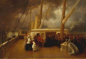 ملکه ویکتوریا و پرنس آلبرت در روی کشتی در حالی گفتگو با عبدالعزیز