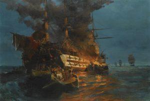 یک کشتی آتش گرفته مصری در سواحل یونان. ورود ارتش مصر معادله جنگ استقلال یونان را به نفع عثمانی عوض کرد