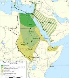 نقشه گسترش قلمرو مصر از زمان آغاز حکومت محمد علی پاشا تا سال 1914