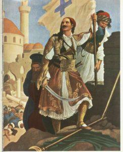 استقلال طلبان یونانی با پرچم این کشوردر حال محاصره تریپولی