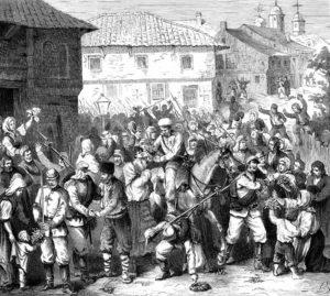تزار الکساندر دوم سوار براسب در حال روحیه دادن به سربازان روسیه در جنگ با عثمانی