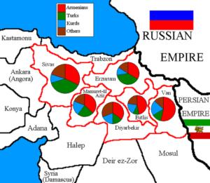 تفکیک جمعیتی 6 ایالت ارمنی نشین. تا سال 1882 تعداد آنها به حدود دو میلیون نفر می رسید