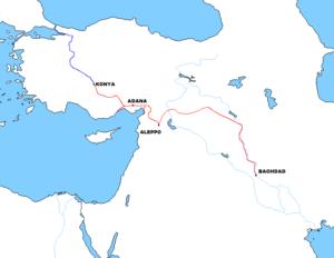 مسیرخط آهن برلین- بغداد. این طرح بلند پروازانه به دلیل جنگ جهانی اول نیمه تمام باقی ماند