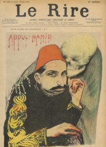 عبدالحمید بر روی جلد مجله لی لیر با نام سلطان سرخ(اشاره به کشتار یهودیان)