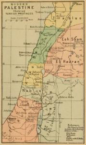 نقشه فلسطین در سال 1892. تا این سال مهاجرت و مسافرت یهودیان به این سرزمین چند برابر شده بود
