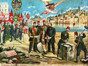 پوستر تبلیغاتی ترکان جوان بعد از پیروزی. آنها وعده بازسازی قانون اساسی 1876 را داده بودند