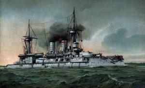رزم ناو خیرالدین بارباروس. این کشتی جنگی جزو ناوهای خریداری شده از آلمان بود اما نتوانست کارچندانی در جنگ از پیش ببرد