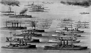 نمودار جالب مجله فرانسوی ایلستراسیون فرانسه و مقایسه دارایی های نیروی دریایی یونان و عثمانی. یونان در سمت راست و عثمانی در سمت چپ قرار دارند