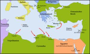 نقشه حملات ارتش ایتالیا به لیبی و جزایر دودکانس