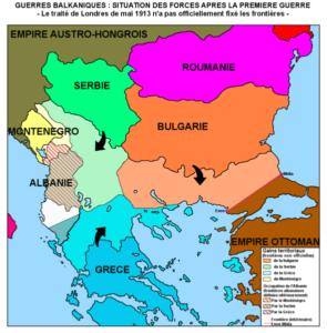 وضعیت بالکان بعد از جنگ اول. بلغارستان راضی ترین و صربستان ناراضی ترین کشور بود