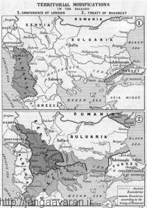وضعیت بالکان قبل (تصویربالا) و بعد از امضای عهدنامه بخارست (تصویرپایین)