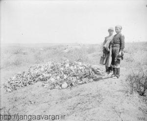 باقی مانده جنازه نیروهای آنزاک در یونان در سال 1919. به دلیل ضعف شدید در انتقال مصدومان و اجساد،صدها هزار جنازه در میدان نبرد و اطراف آن رها شده باقی ماند و همانجا دفن شد