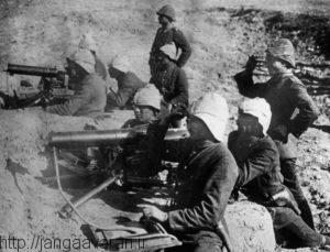 سربازان عثمانی با مسلسل های آلمانی معروف ماکسیم در گالی پولی