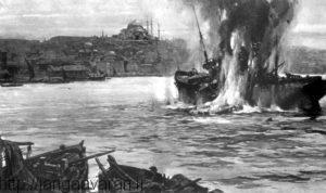 عملیات زیر دریایی E11 در سواحل استانبول. حضور این زیر دریایی در نزدیکی پایتخت عثمانی باعث وحشت ترکها شد