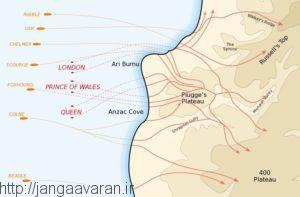 مسیرهای پیشروی متفقین در شبه جزیره گالی پولی
