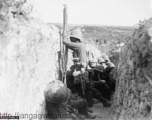 نیروهای استرالیایی در سنگر. مقاومت سرسختانه آنها ضدحمله ترکها را بی اثرکرد