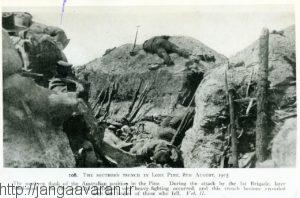 سنگر نیروهای استرالیایی در لووین پاین. این عملیات ایذایی تبدیل به قتلگاه نیروهای آنزاک شد