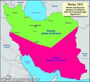 نقشه تقسیم ایران به حوزه نفوذ روسیه و انگلستان در سال 1915. ورود عثمانی به غرب ایران تمام این معادلات را برهم زد