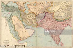 خاورمیانه در آغاز جنگ جهانی اول. تقریبا همه سرزمین های عربی زیر سلطه عثمانی قرار داشت و قیام اعراب به سرعت تبدیل به یک دردسر جدی برای دولت عثمانی شد