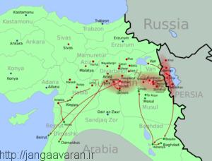 مناطقی که در آن نسل کشی آشوریان اتفاق افتاد. دامنه این نسل کشی به ایران هم کشیده شد