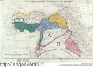 نقشه تقسیم جدید خاورمیانه براساس موافقت نامه ژان دمورین. مناطق سبز رنگ قرار بود به ایتالیا واگذارشود
