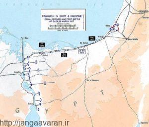 نقشه اولین حمله ارتش بریتانیا به منطقه غزه