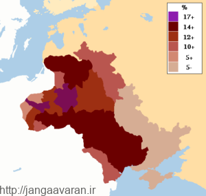 نقشه مناطق سکونت یهودیان در روسیه. در طی جنگ جهانی اول متفقین و متحدین هر دو سعی در جلب نظر یهودیان روسیه به نفع خود داشتند