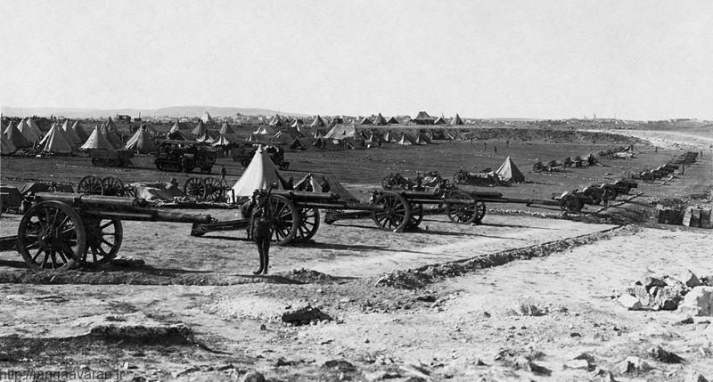توپخانه ارتش بریتانیا مستقردر بیابان های اطراف اورشلیم