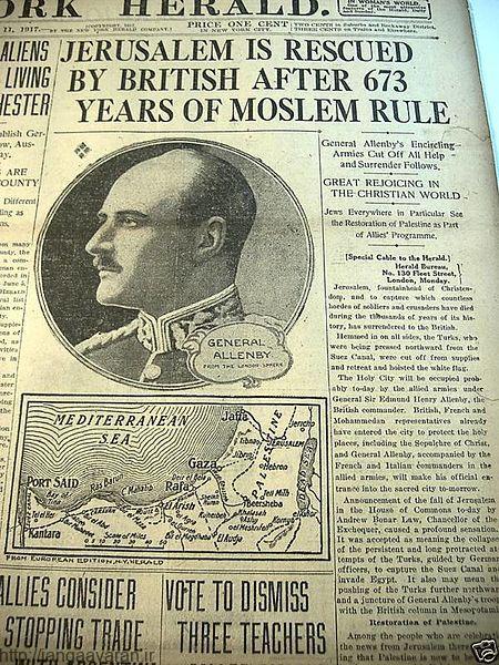صفحه اول روزنامه نیوریورک هرالد و اشاره به تصرف اورشلیم بعد از 670 سال