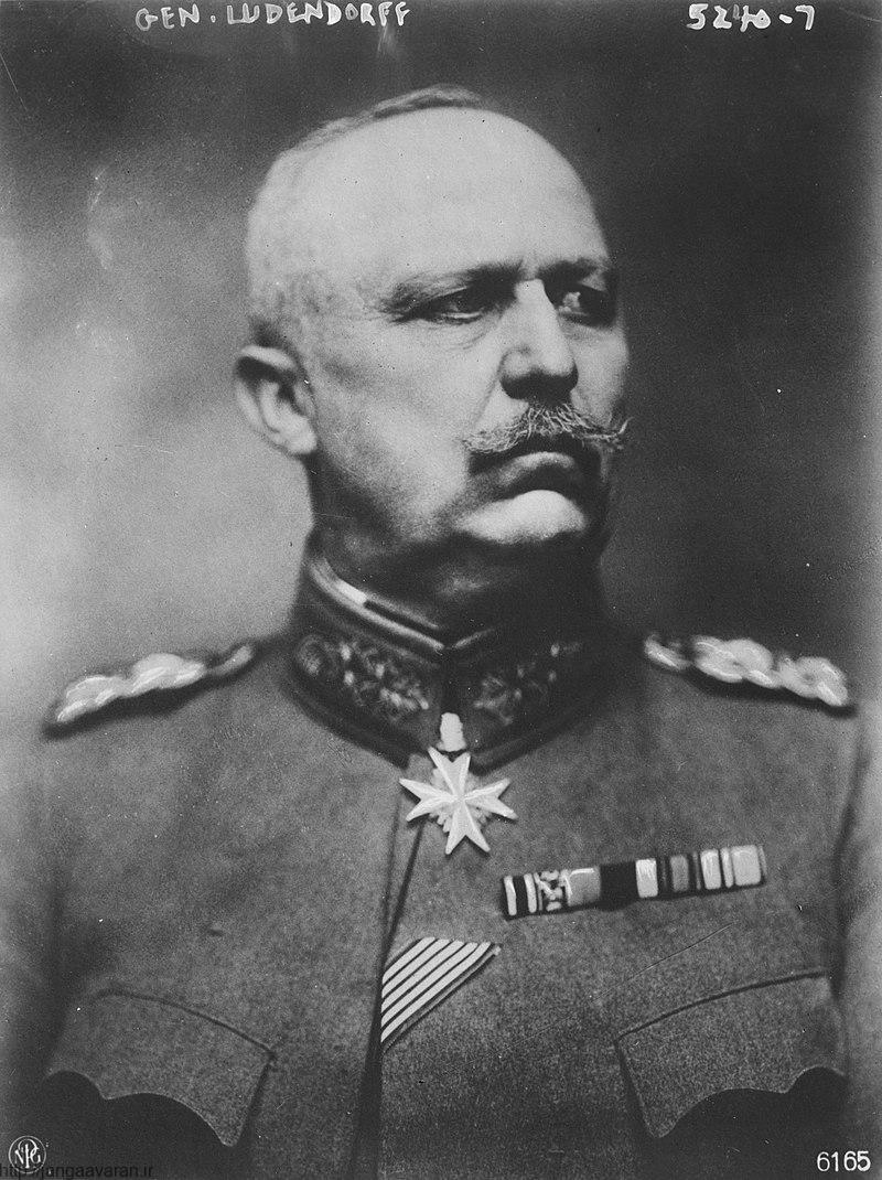 مارشال لودندورف رییس ستاد ارتش آلمان. شکست حمله سراسری آلمان در تابستان 1918 باعث شد او به قیصر توصیه کند جنگ را پایان دهد