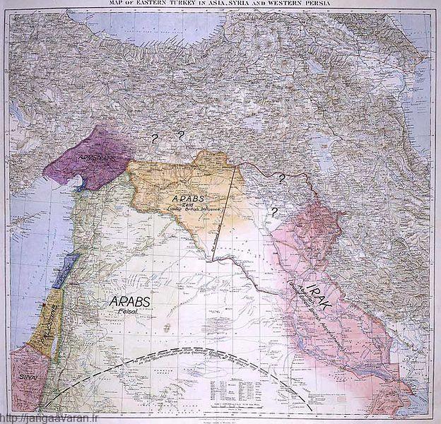 نقشه ای که سرهنگ لارنس برای منطقه خاورمیانه کشیده بود