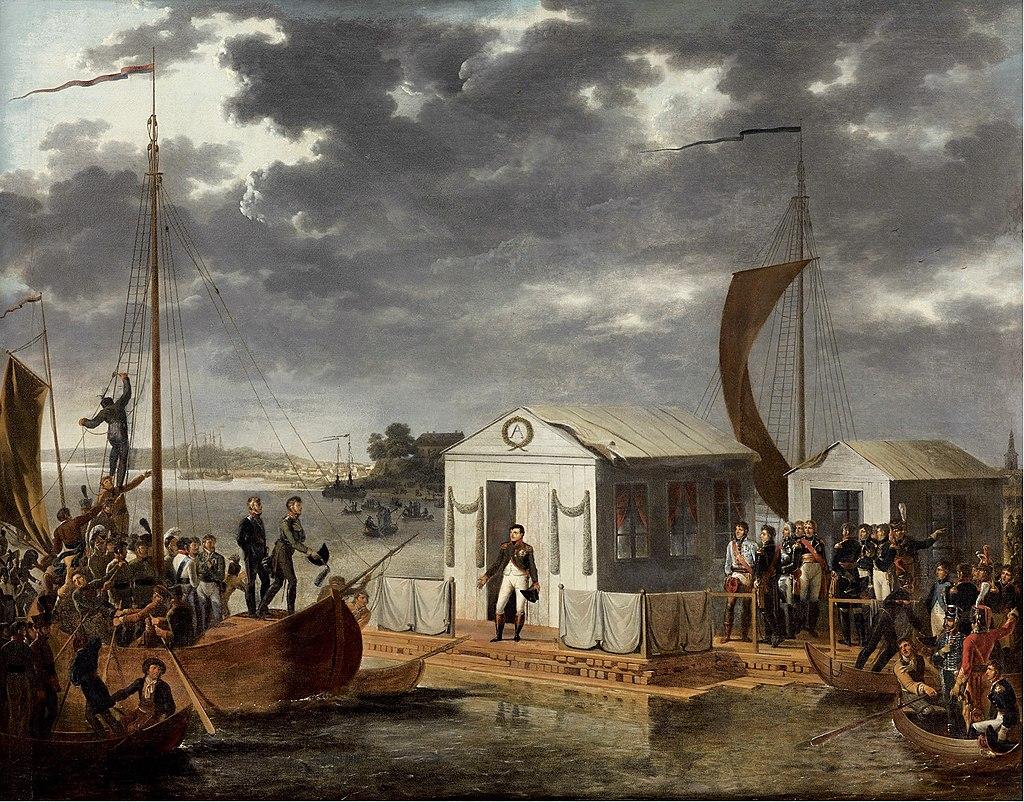دیدار ناپلئون و الکساندر اول در منطقه تیسلیت. امپراتور فرانسه با امضای این پیمان عملا به ایران و عثمانی خیانت و آن ها رو مقابل روسیه رها کرد
