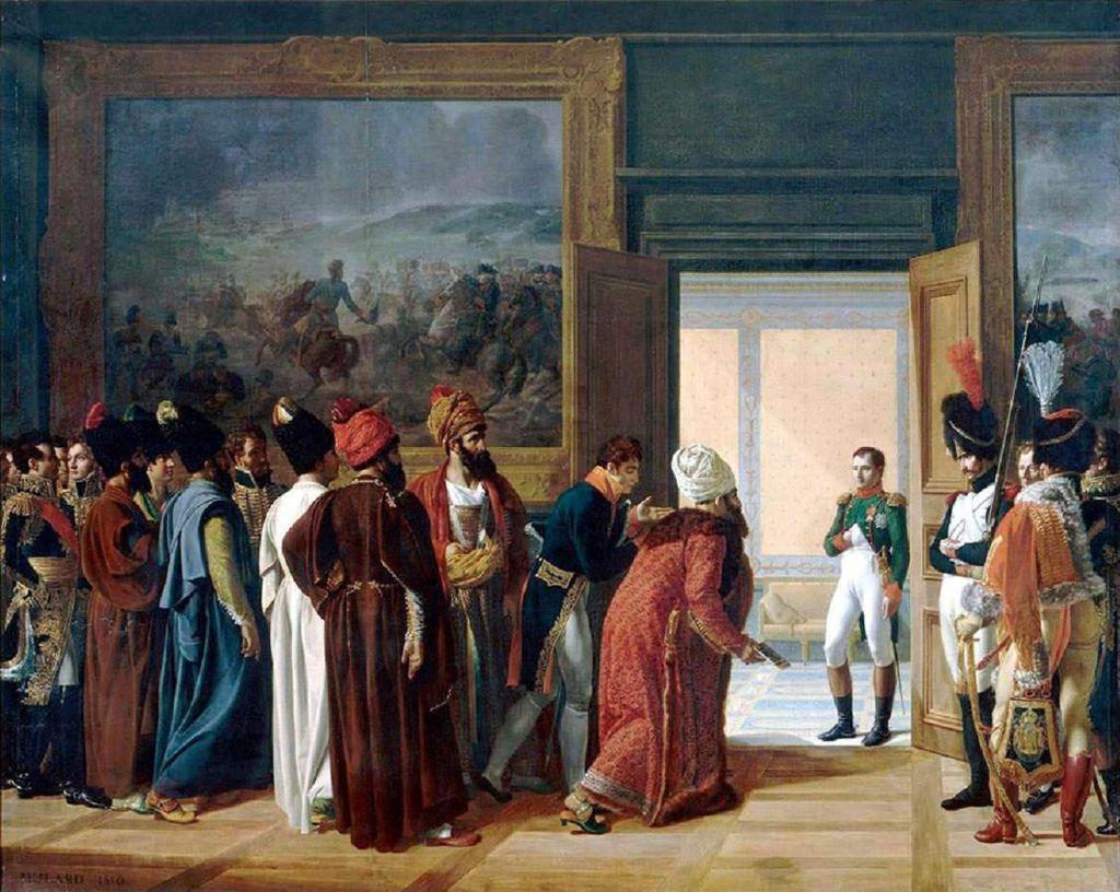 دیدار محمد رضا قزوینی فرستاده فتح علی شاه قاجار با ناپلئون بناپارت در کاخ فین کنشتاین