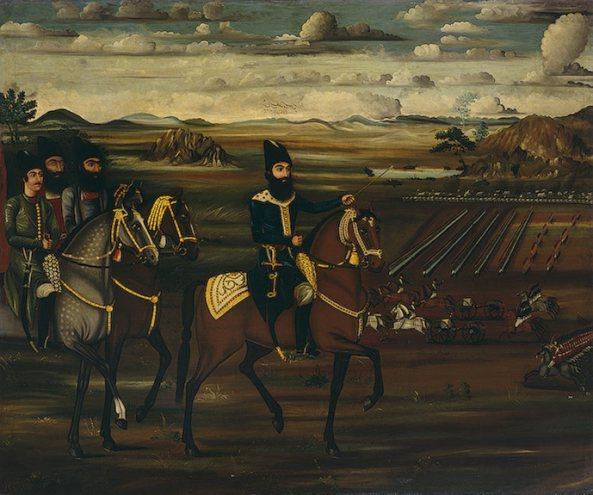 عباس میرزا فرمانده ارتش ایران در میدان نبرد. او با همه خیانت ها و کمبودها به خوبی جنگ با روسیه را اداره می کرد